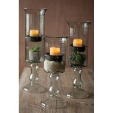 Glass Candle Cylinder with Metal Insert and Glass Base - Small