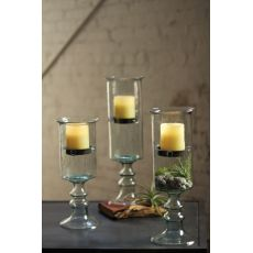Mini Glass Candle Cyl with Metal Insert and Glass Base - Large