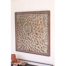 Square Wood Framed Pressed Metal Wall Decor