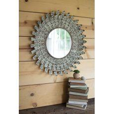 Pressed Metal Leaves Wall Mirror
