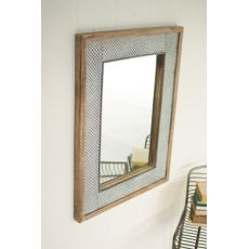 Pressed Metal And Wood Wall Mirror