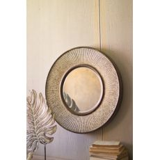Round Pressed Metal Wall Mirror