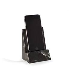 Black Zebra Marble Desktop Phone / Tablet Cradle with a Pass-thru Hole for Charging Cable