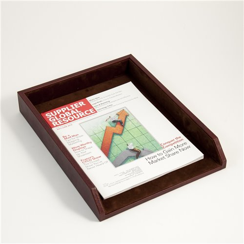 Tan Leather Letter Tray