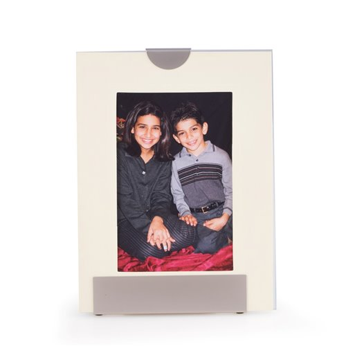 Silver Plated with Pearl Finish 4x6 Picture Frame Displays Both Vertically and Horizontally