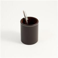 Coco Brown Leather Pen Cup