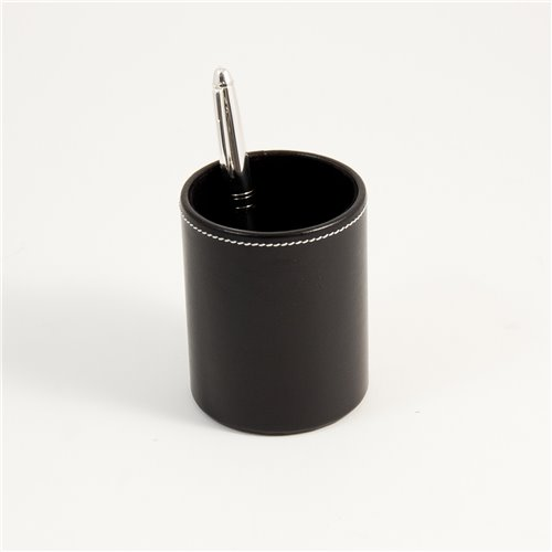 Black Leather Pen Cup