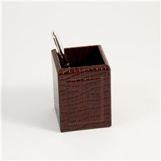Brown Croco Leather Pen Cup