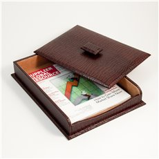 Brown Croco Leather Letter Tray with Cover