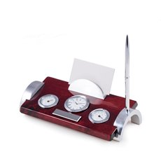 Lacquered Rosewood Weather Station with Chrome Accents