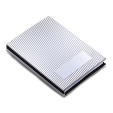 Personal Notebook with Silver Cover , Black Leather Back and Unlined Paper