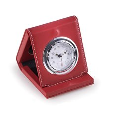 Red Leather Foldable Quartz Alarm Clock with Chrome Accents