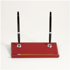 Red Leather Double Pen Stand with Chrome Accents