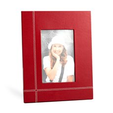 Red Leather 4x6 Picture Frame with Easel Back