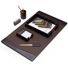 6 Piece Brown Leather Desk Set