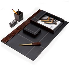6 Piece Burl Wood and Black Leather Desk Set