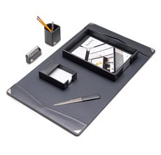 6 Piece Grey Leather Desk Set