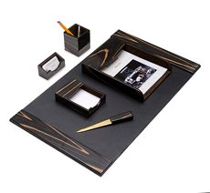 6 Piece Ebony Wood and Black Leather Desk Set