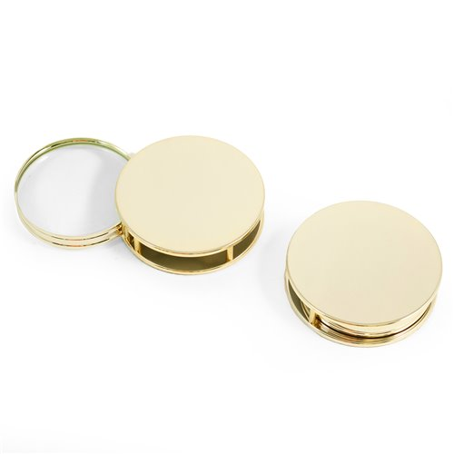 Gold Plated Paperweight and Fold Out Magnifier with