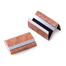 Brown Leatherette Double Compartment Card Case with Magnetic Closure