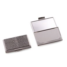 Nickel Plated Business Card Case with Stingray Design