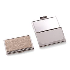 Nickel Plated Business Card Case with Beige Stingray Design