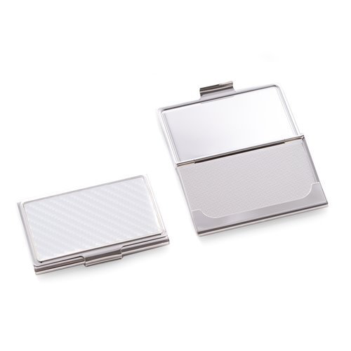Nickel Plated Business Card Case with Grey and White Checker Design