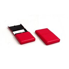 Red Leather Business Card Case with Flip Top