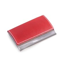 Red Leather Business Card Case with Magnetic Lid