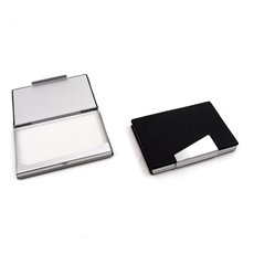 Brown Leather Business Card Case with Aluminum Trim