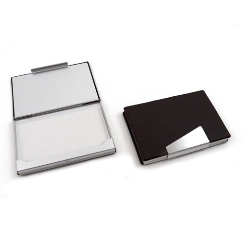 Black Leather Business Card Case with Aluminum Trim