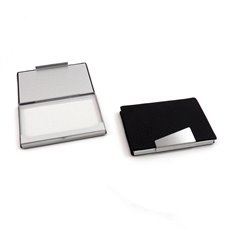 Black Leatherette Business Card Case with Aluminum Trim