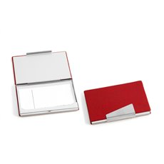 Red Leather Business Card Case with Aluminum Trim