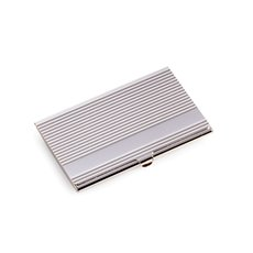 Silver Plated Business Card Case with Lined Design