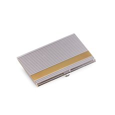 Silver Plated Business Card Case with Lined Design and Gold Trim