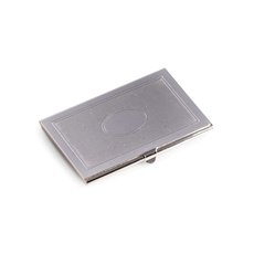 Silver Plated Business Card Case with Oval Design