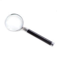 Black Leather Magnifier with Chrome Accents