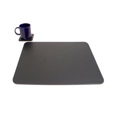 Black Leather 14x17 Conference Table Pad with Single Coaster