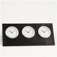 Black Leather Triple Time Zone Quartz Clock with Chrome Accents and 3 Engraving Plates