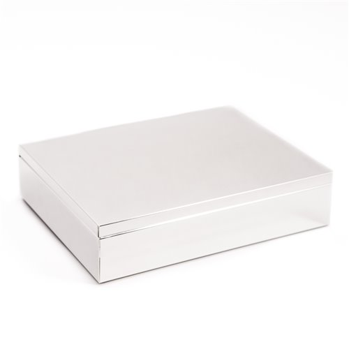 Silver Plated 6 x 7 3/4 Rectangular Hinged Box with Black Velvet Lining