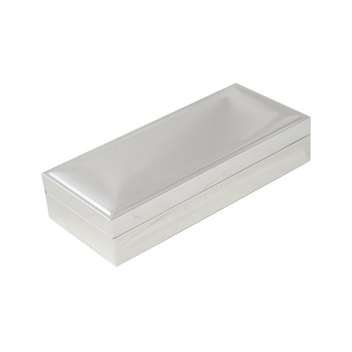 Nickel Plated Rectangular 3 1/2 x 8 Hinged Box with Velvet Lining