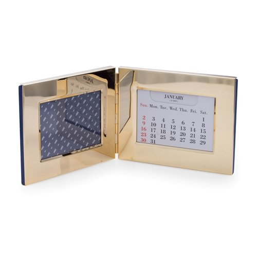 Gold Plated Perpetual Calendar and 3 1/2x5 Frame with Velvet Backing