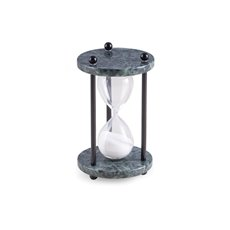 Green Marble 4 Minute Sand Timer with White Sand and Black Posts