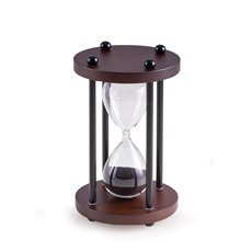 Walnut Wood 4 Minute Sand Timer with Black Sand and Black Posts