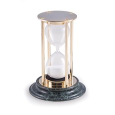 Brass 15 Minute Sand Timer on Green Marble Base