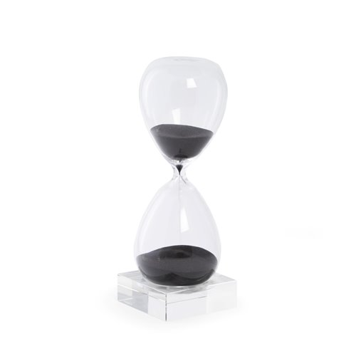 60 Minute Crystal Sand Timer on Crystal Base with Black Sand