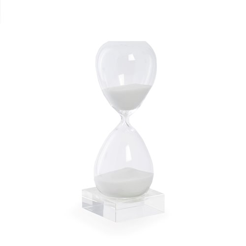 60 Minute Crystal Sand Timer on Crystal Base with White Sand