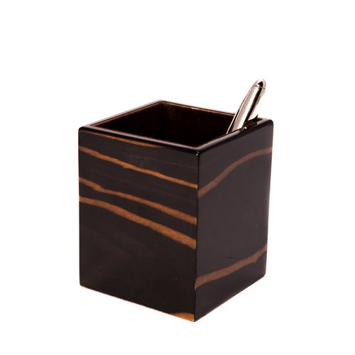 Ebony Wood Square Pen Cup
