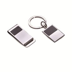 Silver Plated with Carbon Fiber Accents Money Clip and Key Ring Gift Set