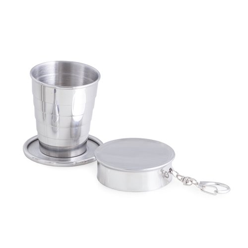 Stainless Steel 2 oz Collapsible Cup with Attaching Ring